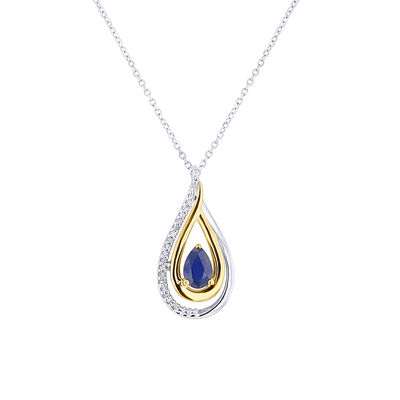 Teardrop Blue Sapphire and Diamond
