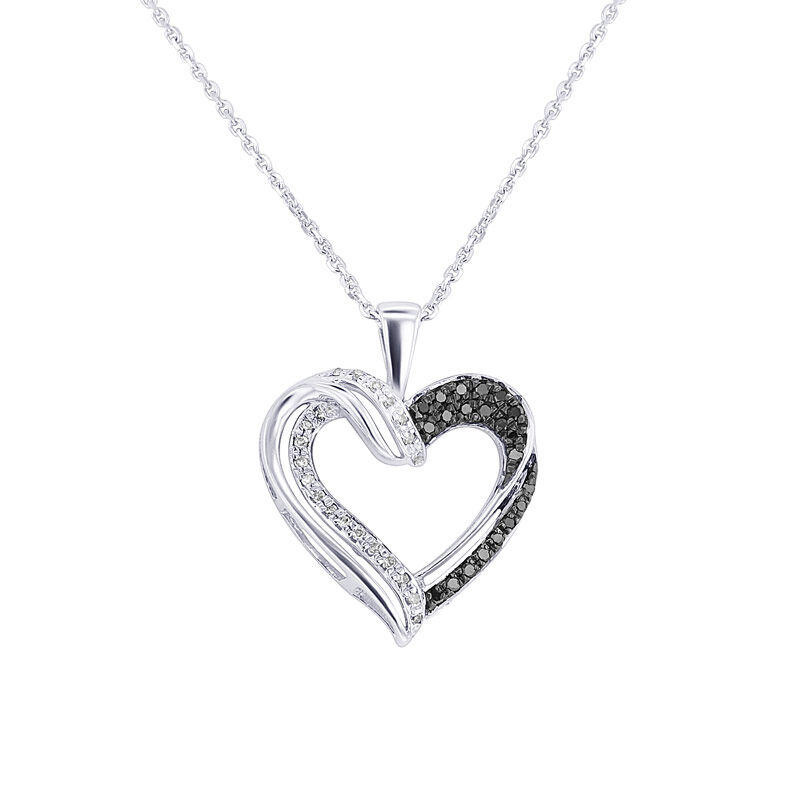 Silver Black & White Twisted Heart