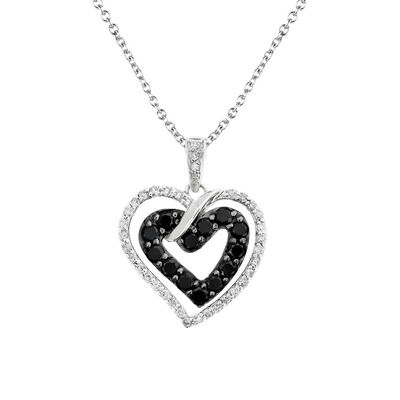 Silver Black & White Love Locked Heart