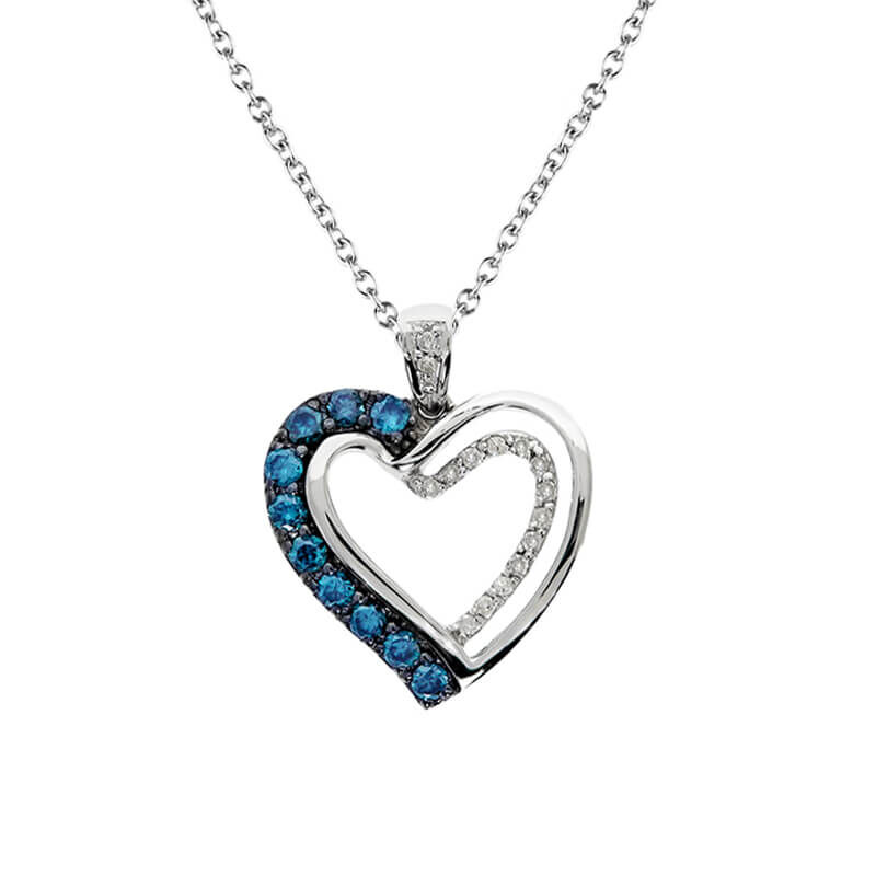 Silver Sky Blue Diamond Cynthia Heart
