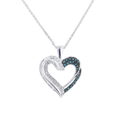 Silver Sky Blue Twisted Heart