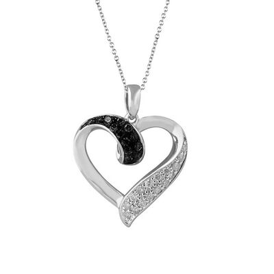 Silver Black & White Open Heart