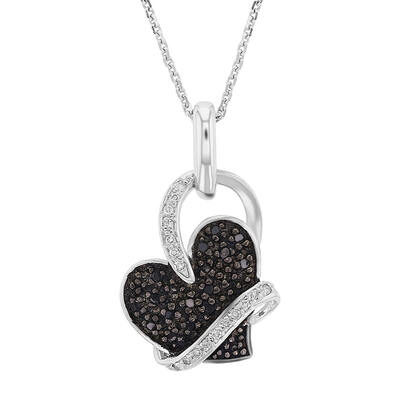 Silver Black & White Hug Heart