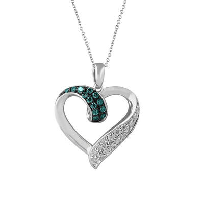 Silver Sky Blue Diamond Open Heart