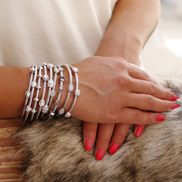 Silver and white diamond bracelets