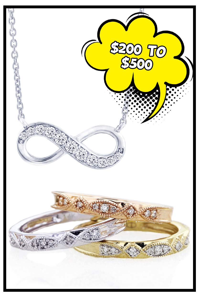 Silver and gold jewelry between 200 to 500 dollars